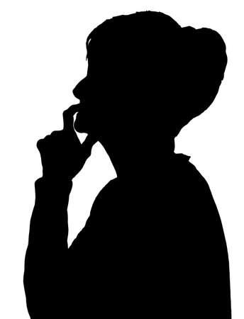 Frontprofil Porträt Silhouette der älteren Dame Finger auf ihre Lippen denken