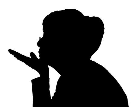 Side profile portrait silhouette of elderly lady blowing a kiss Illustration