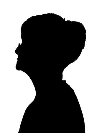 Side profile portrait silhouette of elderly lady with glasses Illustration