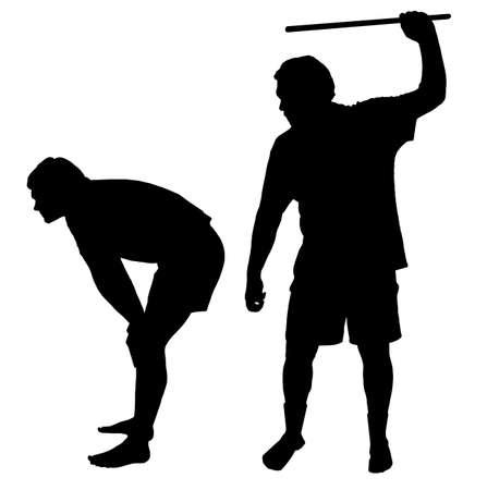 10 代の少年に体罰を適用する人のシルエット  イラスト・ベクター素材