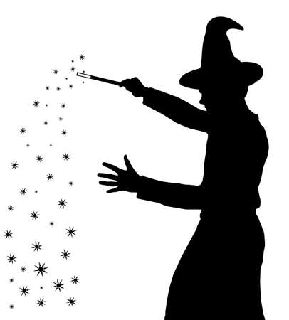 Silhouette of a teenage boy wizard with hat creating magic