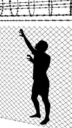 Silhouette of a teenager trying to escape from wired enclosure