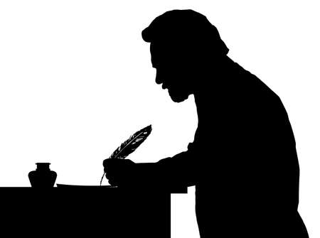 Vintage Silhouette of a bearded man writing with feather at table
