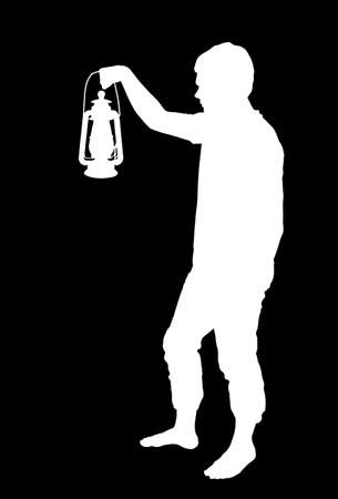 Inverted Silhouette of a teenage boy holding up lantern Illustration
