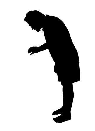 Full length side profile portrait silhouette of man looking down