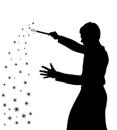 Silhouette of a teenage boy wizard creating magic
