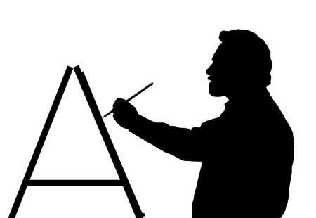 Silueta de un pintor de arte maestro barbudo Ilustración de vector