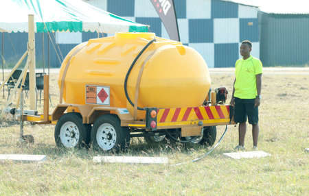 RUSTENBURG, SOUTH AFRICA - April 28, 2017: National Skydiving Championships.  Mobile fuelling tank used to fuel aeroplanes at event.