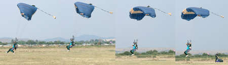 RUSTENBURG, SOUTH AFRICA - April 28, 2017: National Skydiving Championships. Male skydiver coming in for fast landing on grass (Landing Series Images Reverse Order).