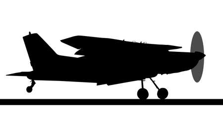 spinning: Side profile silhouette of landing X328 Atlas Angel Turbine skydiving equipped aircraft Illustration