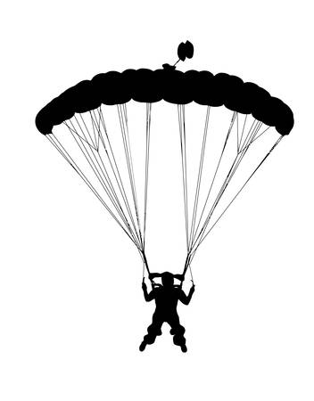 Front profile silhouette of sky diver with open parachute landing