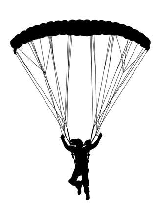 safety harness: Front profile silhouette of sky diver with open parachute landing