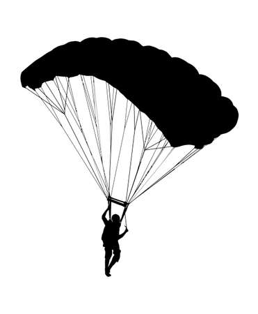 Side profile silhouette of sky diver with open parachute landing