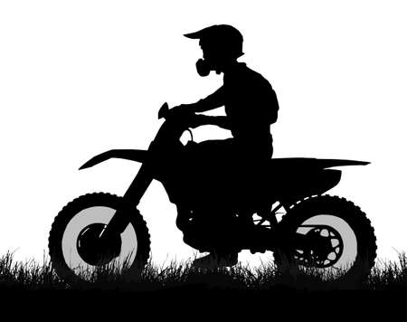 scrambler: Side profile silhouette of off road biker with scrambler on grass Illustration