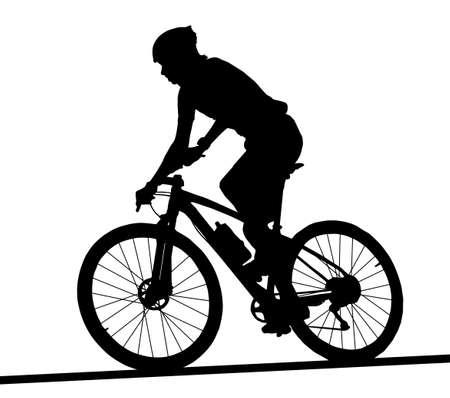 Zij profielsilhouet van de mannelijke berijdende fiets van de bergfietsraceauto