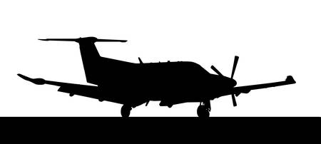 Side profile of a luxury Pilatus-PC12 single prop aircraft Illustration