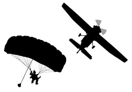 Silhouette de profil bas du ciel plongeur avec parachute ouvert et avion Vecteurs
