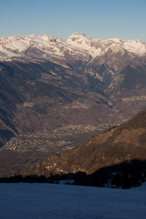 valais: Looking down at Sion and Valais in Switzerland from Savolyeres in Verbier.