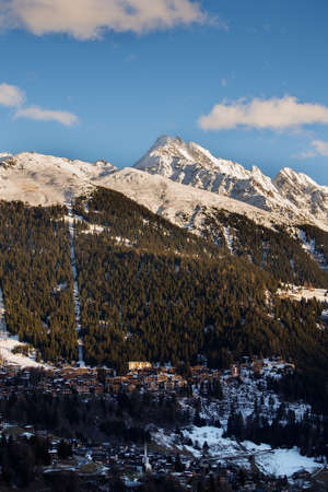 Ski Area: The town of Verbier in Switzerland and the ski area above. Stock Photo