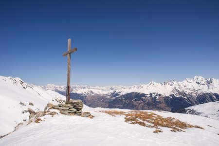 swiss alps: Cross above the Swiss alps, Verbier Stock Photo
