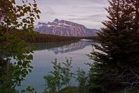 banff national park: Looking down on Two jack lake in Banff national park, Mount Rundle is in the background.