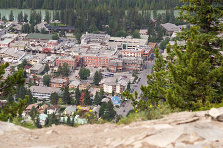 canadian rockies: An aerial view of Banff in the Canadian rockies