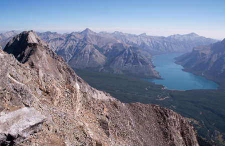 north cascade national park: Looking down on Lake Minnewanka in Banff national park from the summit of Cascade mountain.