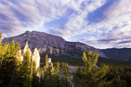 banff national park: Rock formations and Mount Rundle in Banff national park. Stock Photo