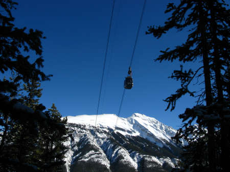 rockies: Looking up at a ski lift in the canadian rockies