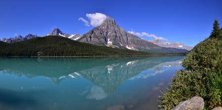 chephren: Mount Chephren and Lower waterfowl lake in Banff national park, Canada. Stock Photo
