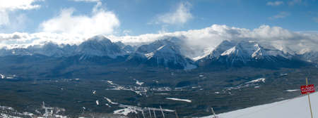 Ski Area: Panorama from the top of the Lake Louise ski area. Stock Photo