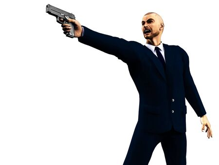 Illustration of enraged man in a dark suit holding a gun.  Based on an original 3d render; suitable for depicting videogames.  illustration