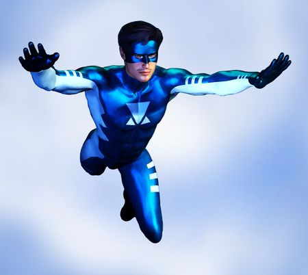 Illustration of a non-specific male superhero in a blue and white costume, flying through the sky.  Based on an original render by the artist. Stock Photo