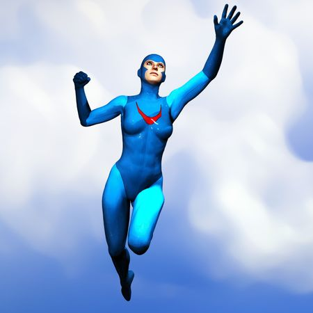Illustration of a non-specific female superhero in a blue costume, flying through the sky.  Based on an original render by the artist.