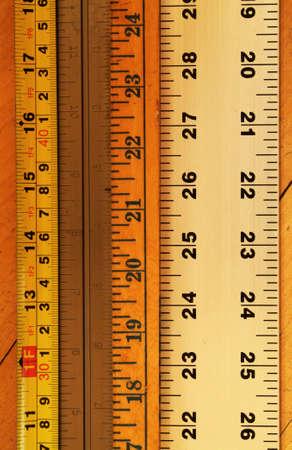 yardstick: close up of various rulers