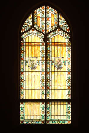 stained glass window from inside of church