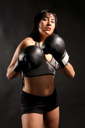 female boxer: Female boxer challenging the camera