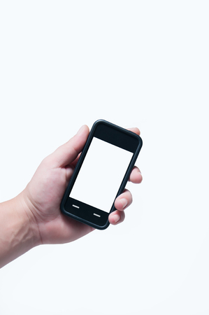 Smart Phone in hand isolated white photo