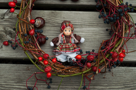 Toy doll with autumn decoration photo