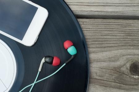 Color Headphones on wooden floor