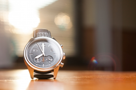 wristwatch: Luxury Watch on the Table Stock Photo