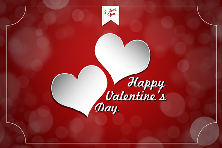 Happy Valentines Day Text with Abstract Background photo