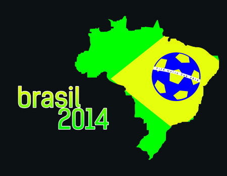 Abstract Brasil Country Flag with brasil 2014 text