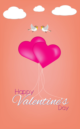 Happy Valentines Day Text With Hearts Shapes Balloons and Birds on Romantic Living Coral Background Greeting Card