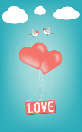 Love Text With Hearts Shapes Coral Color Balloons and Birds on Romantic Blue  Background Greeting Card
