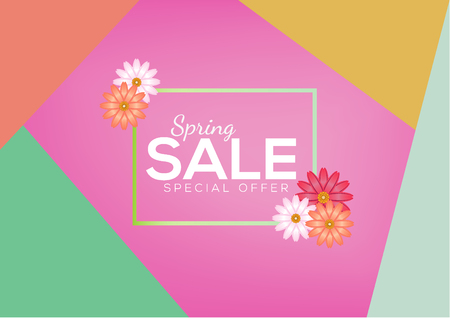 Spring Sale Flyer Banner Design Vector Background with abstract colorful flower
