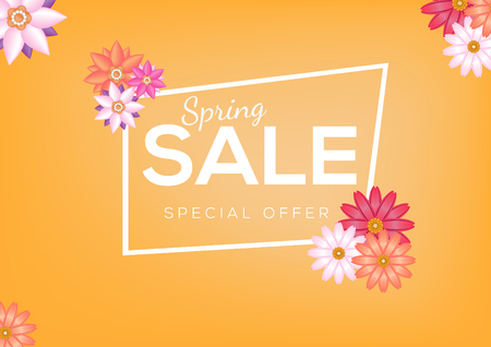 Spring Sale Banner Design abstract colorful flower Фото со стока