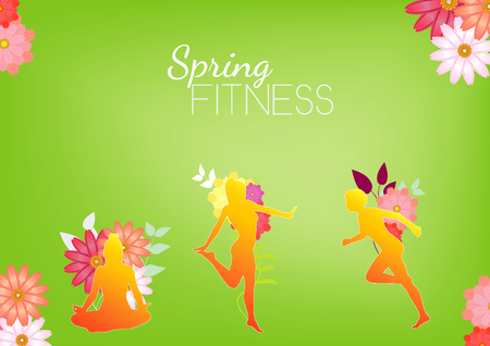 Colorful Sport Fitness Female silhouette Abstract Background Banner Design