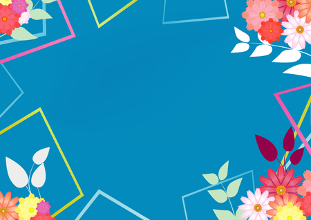 Abstract Spring Summer Floral on Blue Vector Background