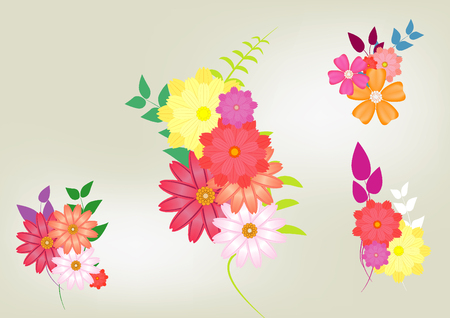 Abstract Colorful Spring Summer Flower Bouquet With Leaves Vector Background